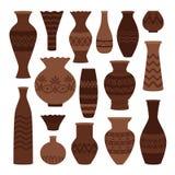 希腊泥罐 在白色,老古老缸和油罐、瓶子和水罐传染媒介例证被设置隔绝的古老花瓶 库存例证