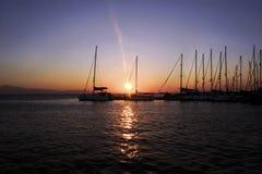 希腊海岛日落 免版税库存图片