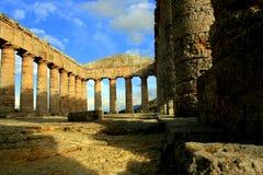 希腊海岛破坏西西里岛寺庙 库存照片