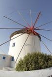 希腊海岛风车 库存图片
