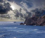 希腊海岛Ios灯塔在基克拉泽斯小组的 免版税图库摄影