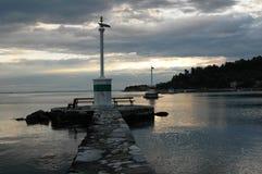 从希腊海岛kos的美好的日落 免版税库存照片