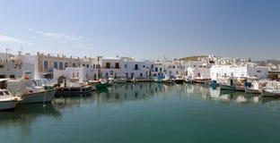 希腊海岛naoussa paros端口 库存图片