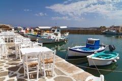 希腊海岛naoussa paros端口 免版税图库摄影