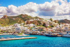 希腊海岛naxos端口 免版税库存照片
