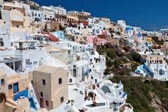 希腊海岛oia santorini村庄 免版税库存照片