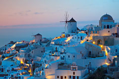 希腊海岛oia santorini村庄 免版税库存图片