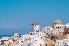 希腊海岛santorini 地区莫斯科一幅全景 旅游目的地 夏天 图库摄影