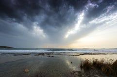 希腊海岸在冬天, Lagonisi -希腊 库存照片