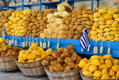 希腊海海绵待售 免版税图库摄影