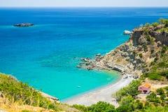 希腊海湾,克利特,希腊看法  库存照片