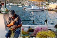 希腊渔夫 库存照片