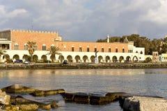 希腊港口海岛罗得斯视图 库存照片