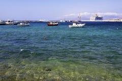 希腊港口mykonos 库存图片
