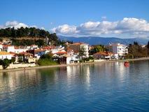 希腊港口nafpakto视图 库存照片