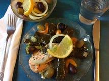希腊烹调:三文鱼、葱、柠檬、橄榄、胡椒、大蒜和Dolmades 免版税库存照片