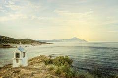 希腊的一个微型宗教标志以教会o的形式 免版税库存照片