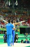 希腊的奥林匹克冠军Eleftherios Petrounias竞争在人` s圆环最后在艺术性的体操竞争在里约2016年 免版税库存照片
