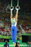 希腊的奥林匹克冠军Eleftherios Petrounias竞争在人` s圆环最后在艺术性的体操竞争在里约2016年 图库摄影