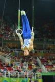 希腊的奥林匹克冠军Eleftherios Petrounias竞争在人` s圆环最后在艺术性的体操竞争在里约2016年 免版税库存图片