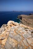 希腊的岩石海岸 库存图片