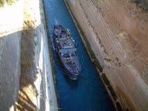 从希腊的美丽的科林斯运河! 免版税库存图片