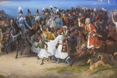 希腊的Othon国王词条的绘画细节在德国画家彼得冯赫斯的雅典在Neue Pinakothek在慕尼黑 免版税库存图片