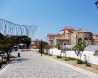 希腊石头在帕罗斯岛海岛,希腊修建了教堂 免版税库存图片