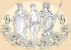 希腊神,古希腊的神话英雄 被隔绝的手拉的美丽的传染媒介艺术品 古典主义 免版税库存照片