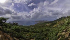 希腊罗得岛山全景  库存图片