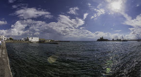 希腊罗得岛海湾全景 库存照片