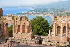 希腊罗马剧院,陶尔米纳 库存照片