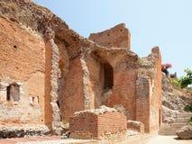希腊罗马剧院, Taormina,西西里岛,意大利的废墟 免版税图库摄影