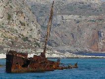 希腊船击毁 库存图片