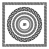 希腊装饰品 圈子装饰品河曲 圆的框架,古老元素玫瑰华饰  希腊全国古色古香的圆的样式,传染媒介 r 图库摄影