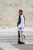 希腊议会的希腊士兵在雅典,希腊 库存照片