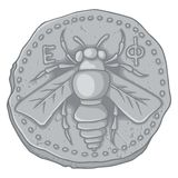 蜂蜜蜂硬币 免版税库存图片