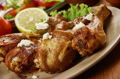 希腊语被烘烤的鸡 免版税库存图片