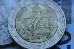 希腊语2欧元接近  免版税库存照片