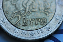 希腊语2欧元接近  库存图片