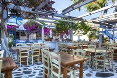希腊语Taverna米科诺斯岛 免版税库存图片