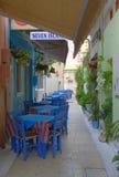 希腊边路咖啡馆餐馆,莱夫卡斯州,希腊 免版税库存照片