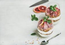 希腊酸奶、格兰诺拉麦片和血橙分层了堆积在玻璃的冷甜点 免版税图库摄影
