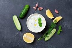 希腊酸奶调味汁tzatziki用黄瓜、莳萝、柠檬、薄菏和大蒜在石台式视图 图库摄影