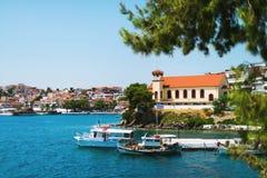 希腊镇的风景 图库摄影