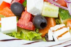 希腊饮食沙拉用调味汁 库存照片