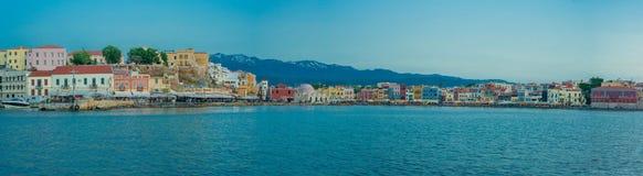 希腊,克利特,干尼亚州风景日落光 免版税库存图片
