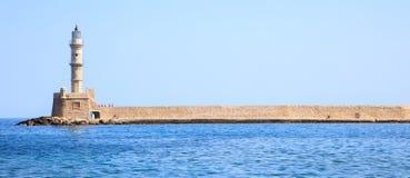 希腊,克利特-干尼亚州口岸灯塔 库存照片