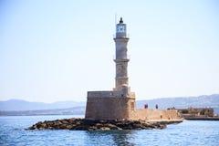 希腊,克利特-干尼亚州口岸灯塔 免版税库存照片