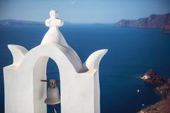 希腊,圣托里尼海岛, Oia村庄,白色建筑学 免版税库存照片